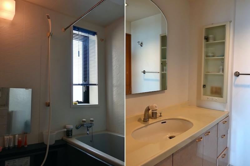新築当時から現役の浴室と洗面は清潔感ありです