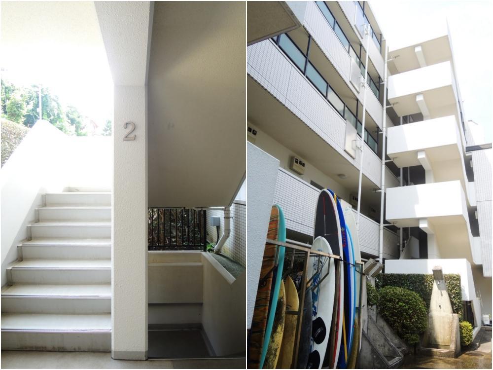 マンション共有部にはサーフボードやシャワー