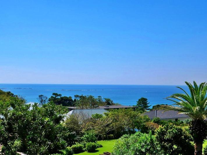 2階からの眺望はおだやかな相模湾を見る