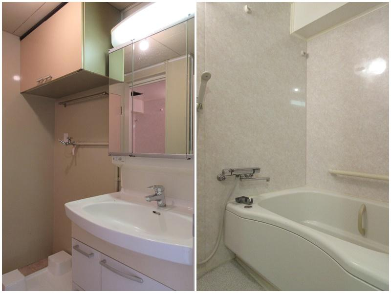 洗面と隣に洗濯機置き場|浴室