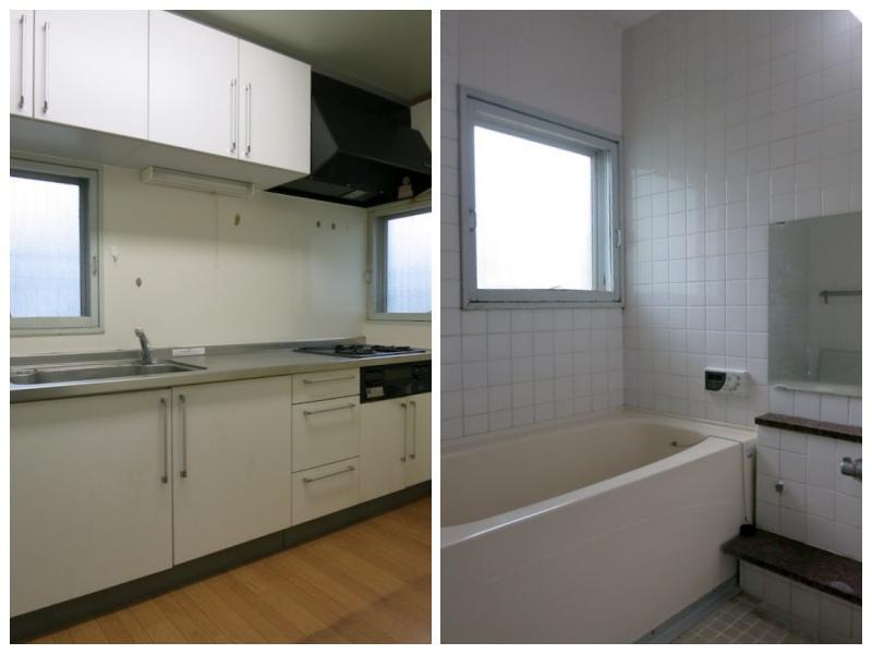 1F浴室と台所|台所の位置を変更すると大工事になってしまいそうだが、勇気を持ってチャレンジしたい