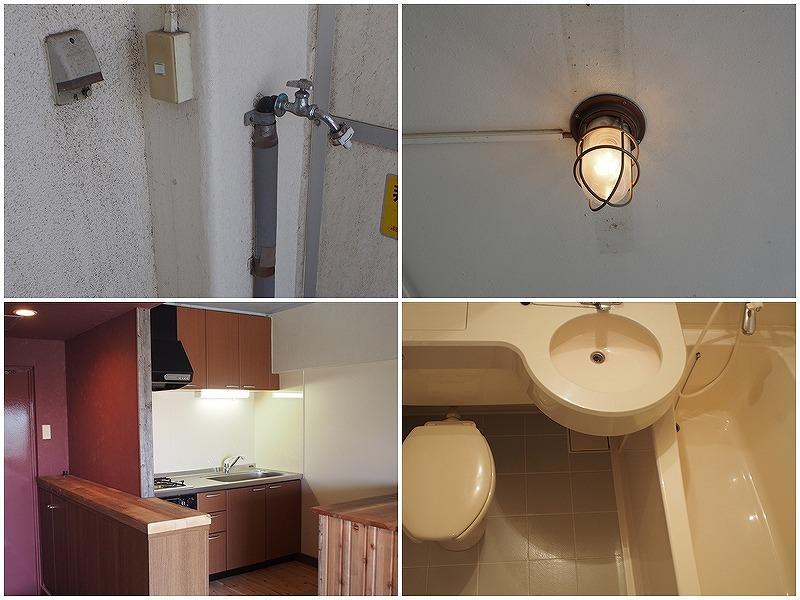 洗濯機は外置き、バルコニーはマリンライト、キッチンは3口、トイレはユニットにあります。