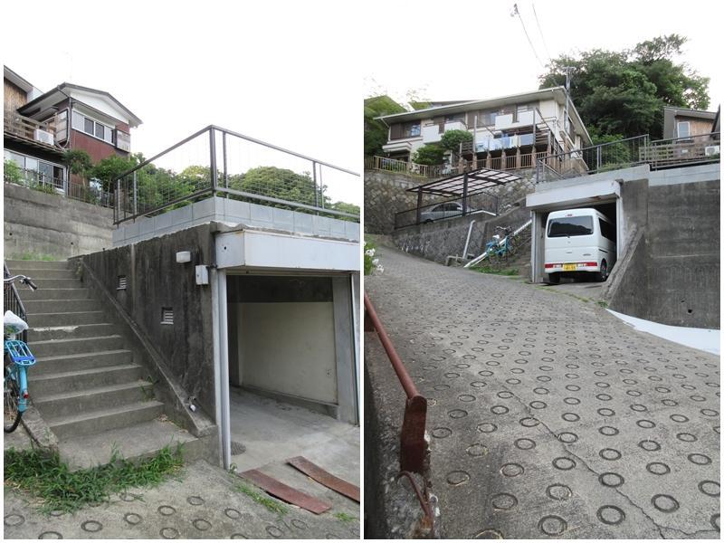 地下車庫と階段|前面道路は坂