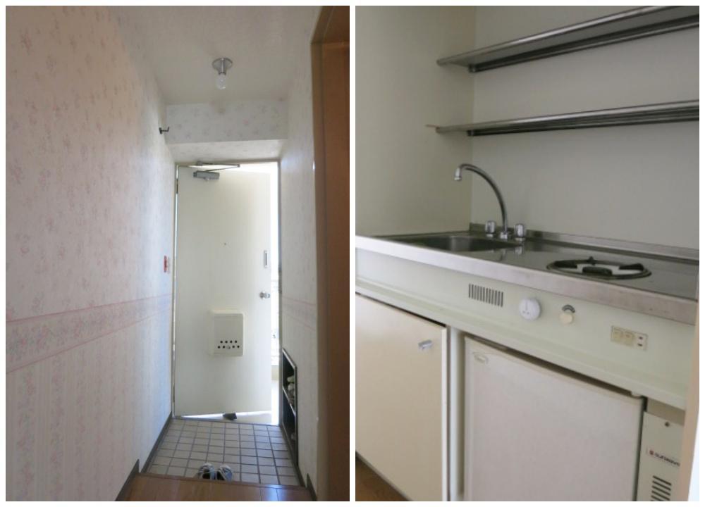 ガスコンロ1口と、小型冷蔵庫が付いています。