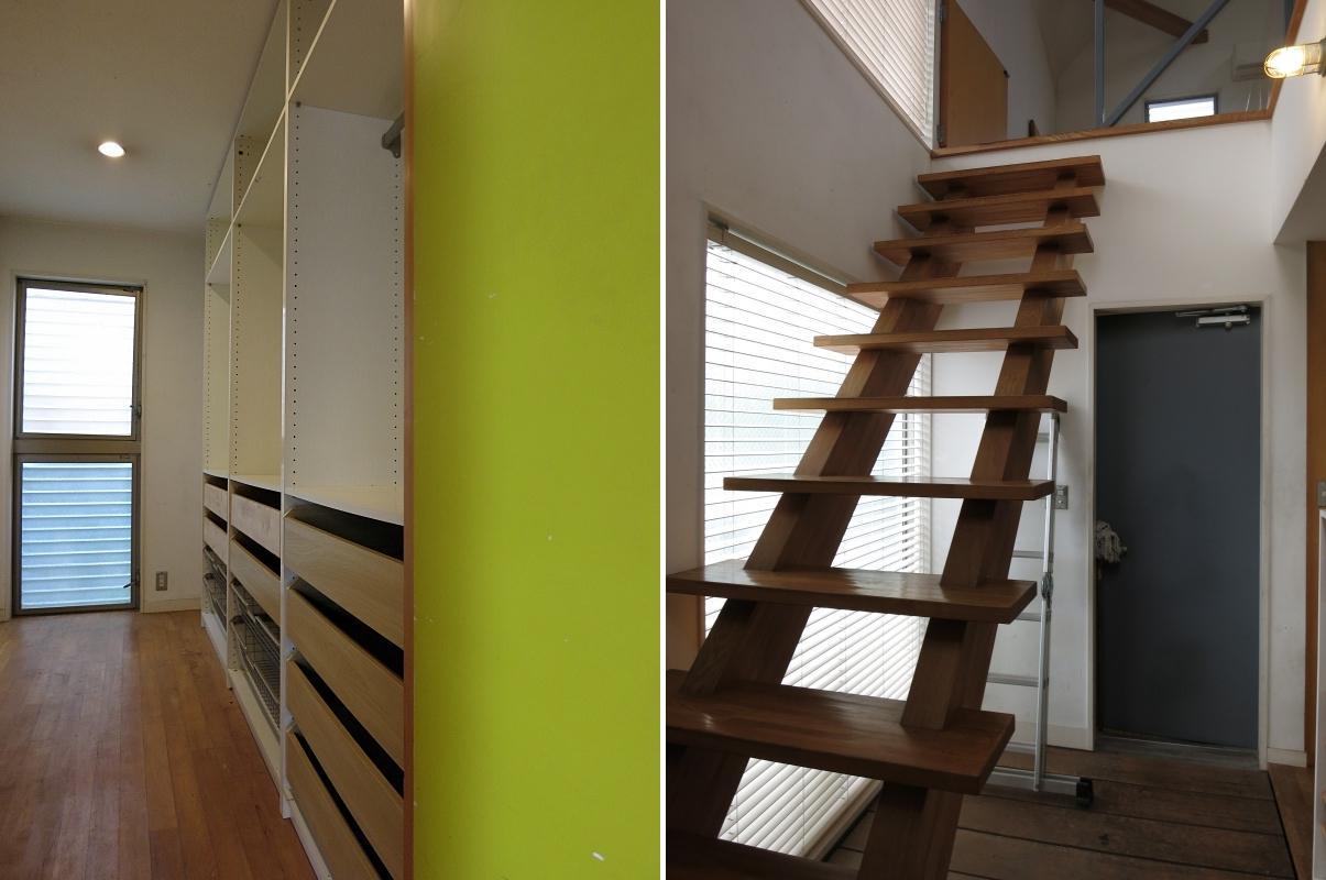 左:収納空間 右:階段兼廊下兼靴収納スペース
