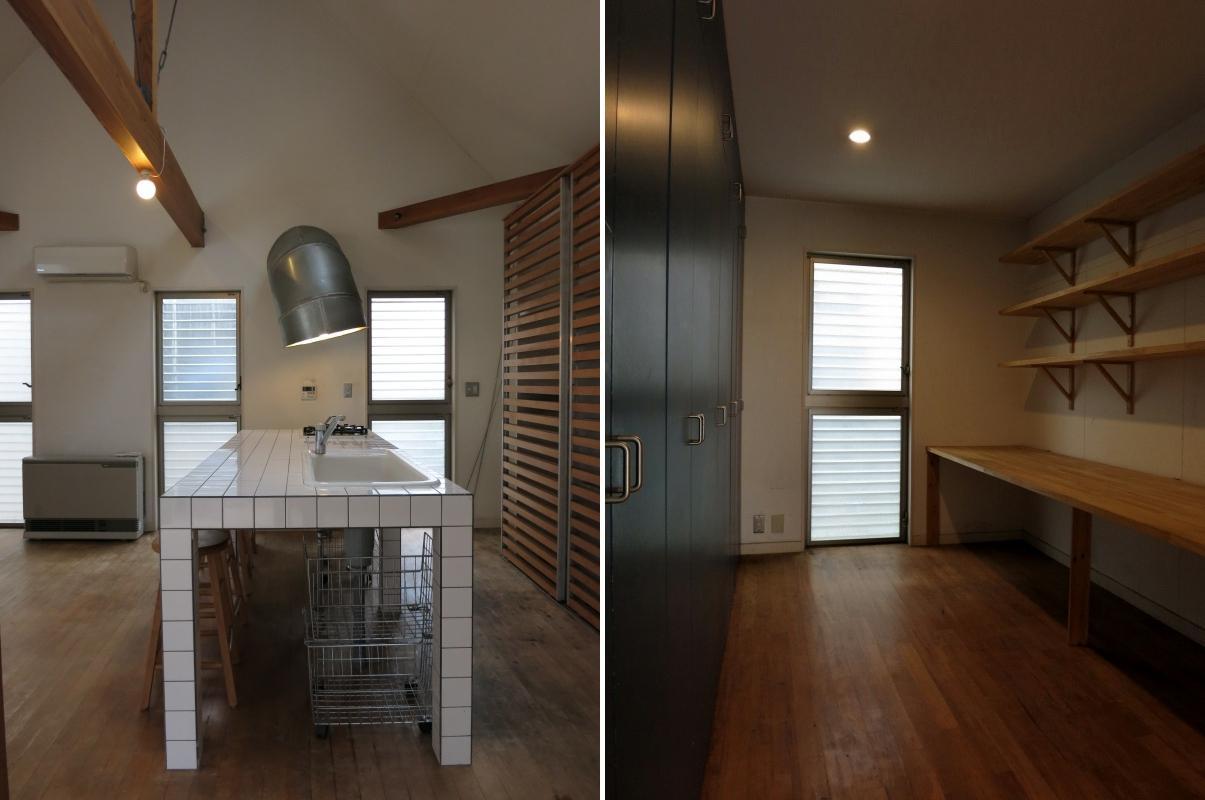 左:台所 右:1階5.5帖の部屋(旧ワークススペース)