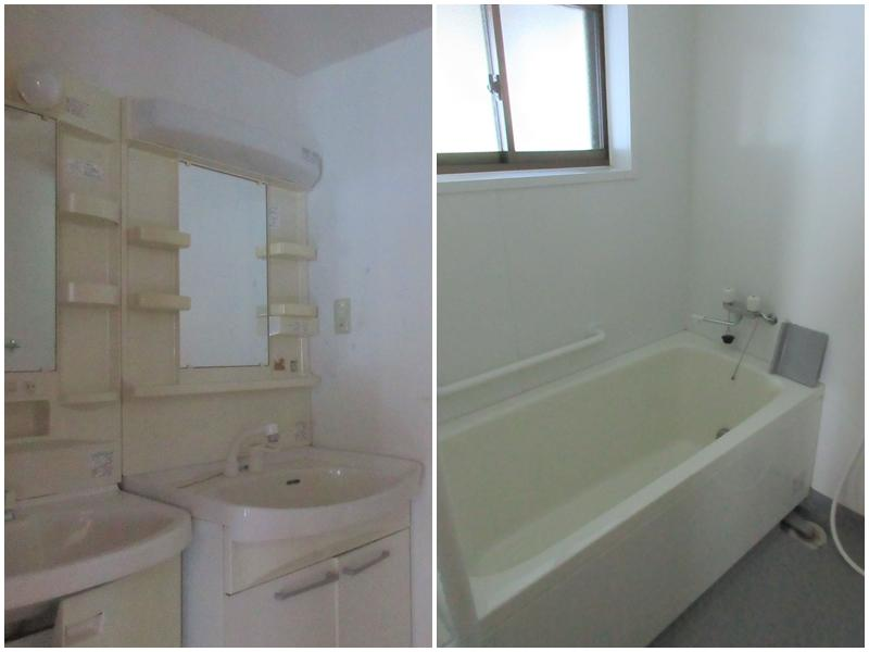 洗面と浴室。トイレは3ヶ所にあり、浴室は2ヶ所