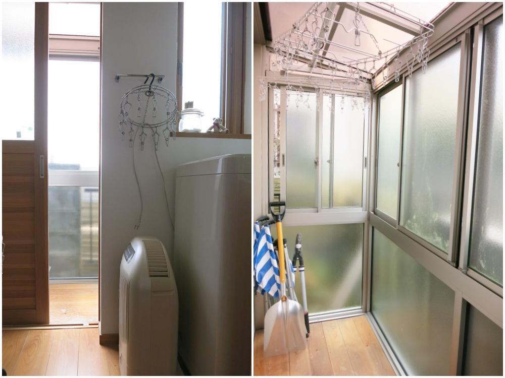 洗面脱衣室の外は物干し用の小さなサンルーム。
