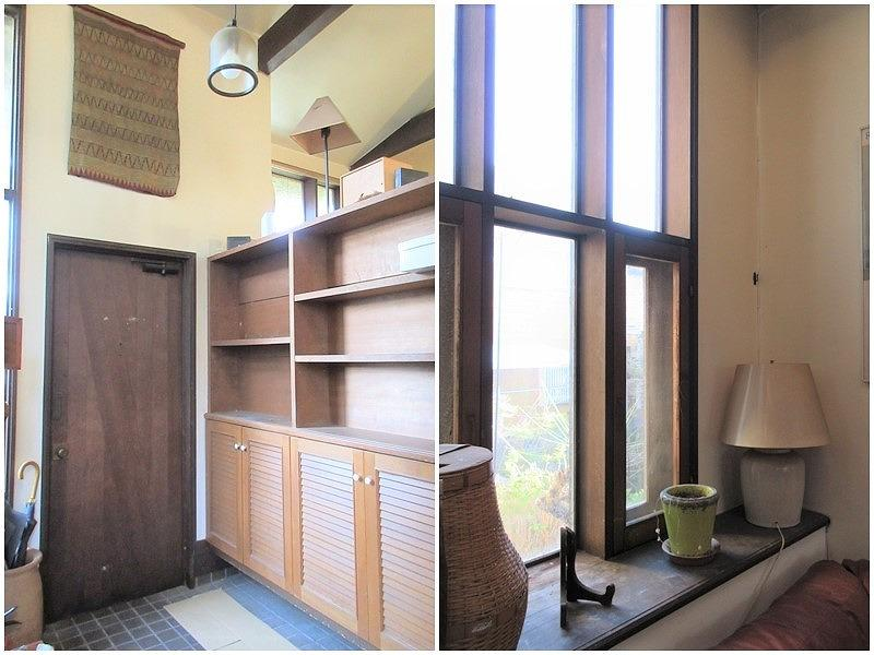 オープン収納の玄関|レトロな小物が似合う木枠の窓