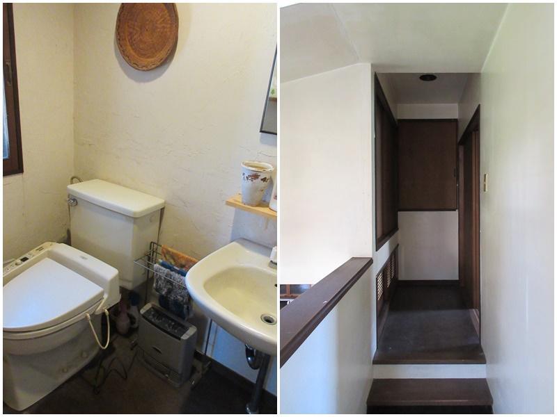 キッチンの奥のトイレと洗面|2階の廊下部分