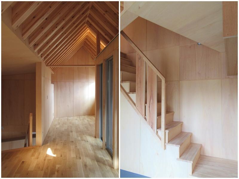 A1|2階の天井は三角屋根|階段
