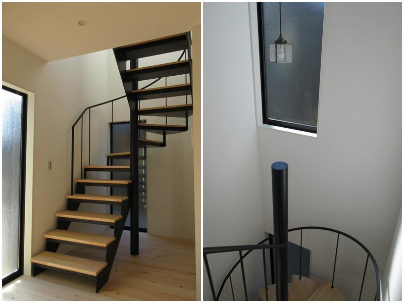 階段|アイアンの手すりがかわいい