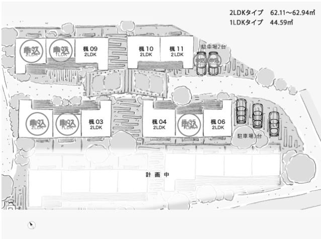 今回募集の楓棟の区画図