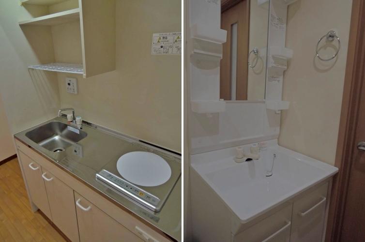 キッチンはさっぱりとIH/洗面台もシンプル