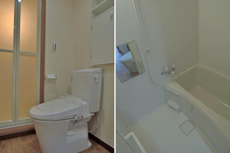 トイレ、浴室もとてもシンプルで白に統一