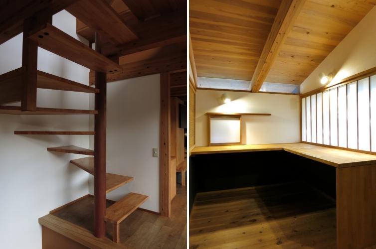 最小限の空間で2階へつなぐ階段