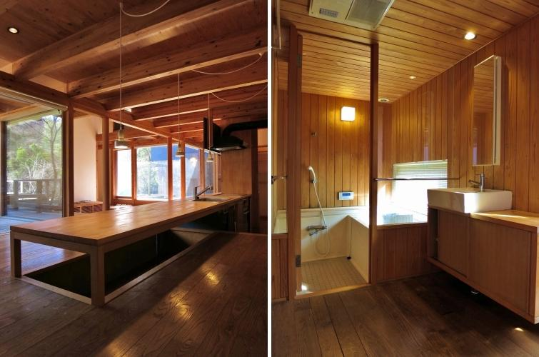 台所と洗面脱衣所と浴室|浴室も窓から借景