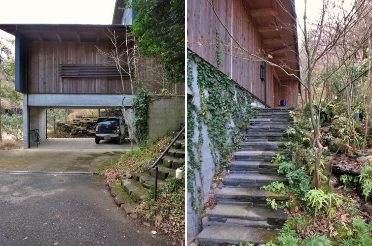 外観|左:車庫スペース/右:玄関アプローチ