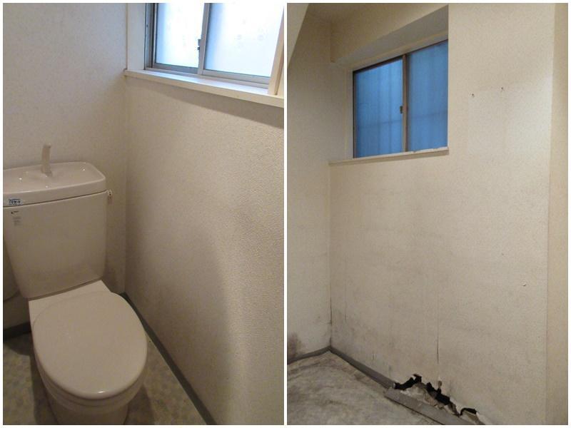 1階のトイレ 1階の奥の部屋。足元の壁が…