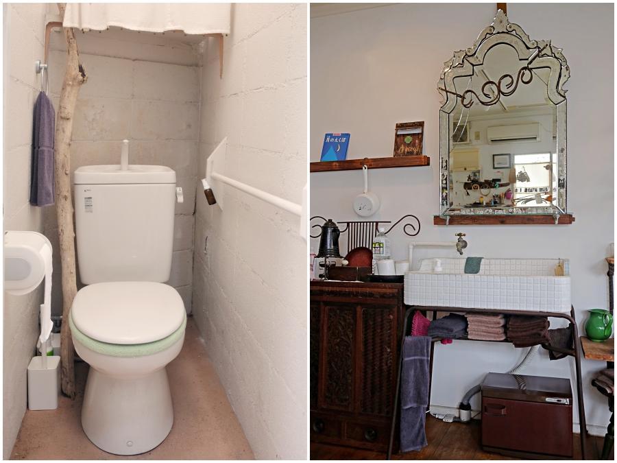 (左)共用トイレ(右)手洗器はそのまま引継ぎ可能です。