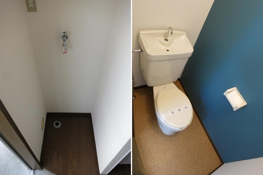 洗濯機置横幅注意(65cm)|204号室のトイレ