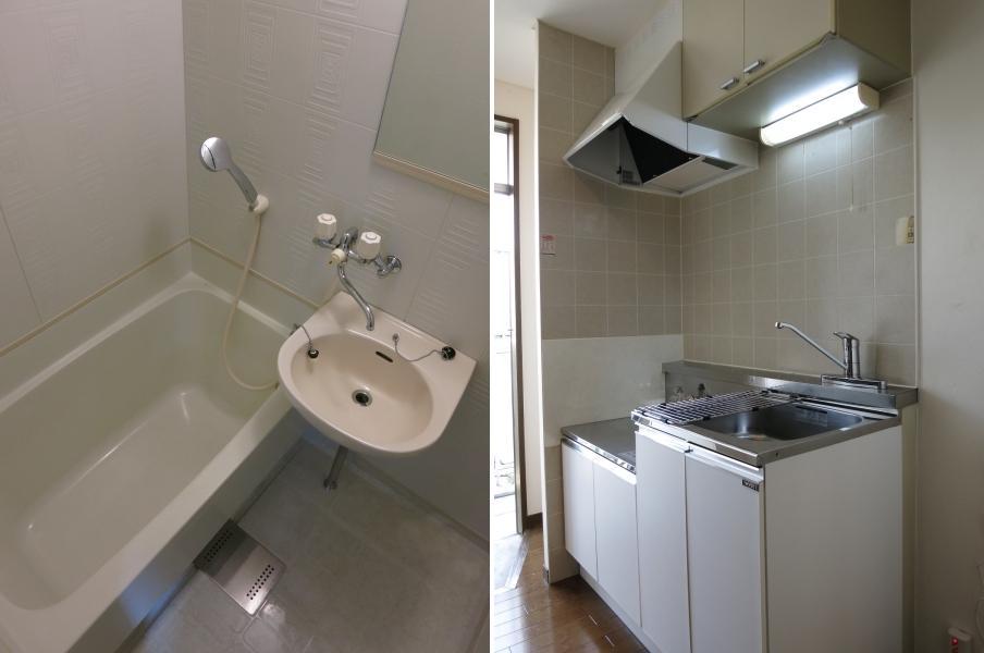 204号室の浴室とキッチン