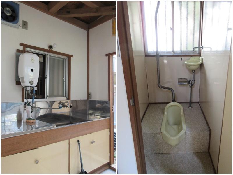 給湯は使えないキッチン|和式のトイレ