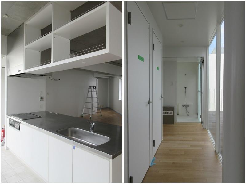 IHタイプのキッチン|トイレとその先に洗面と浴室