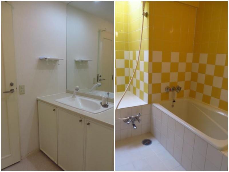レトロな味わいのある洗面と、タイル貼りの浴室