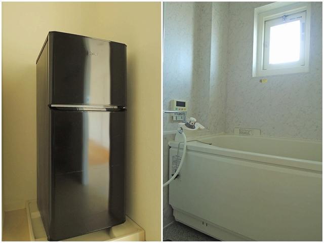 洗濯機置き場には冷蔵庫が置かれていた