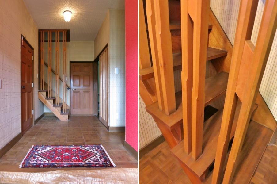 右:階段手すりが木工作品のよう
