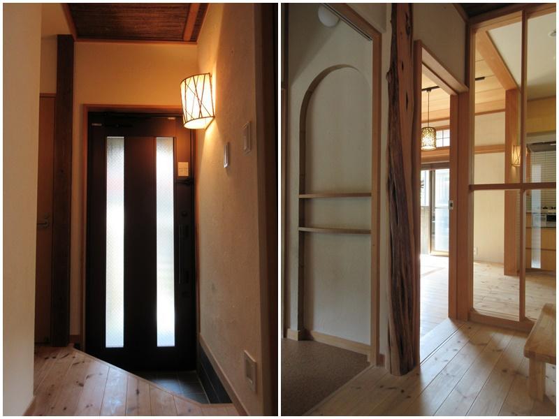 玄関の落ち着いた雰囲気|1階廊下。いい感じに和風