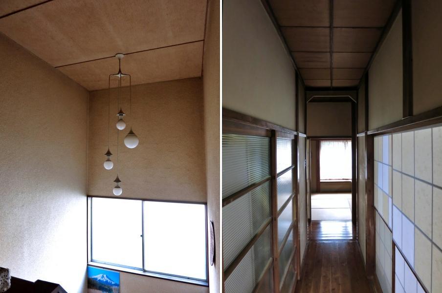 左:階段部分は照明が素敵 右:1階の廊下