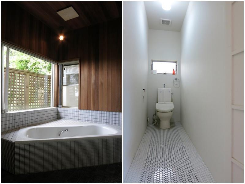 1階|窓付の風呂。トイレは2箇所あり。