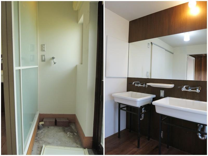 1階|洗濯機置き場とダブルシンクの洗面所。