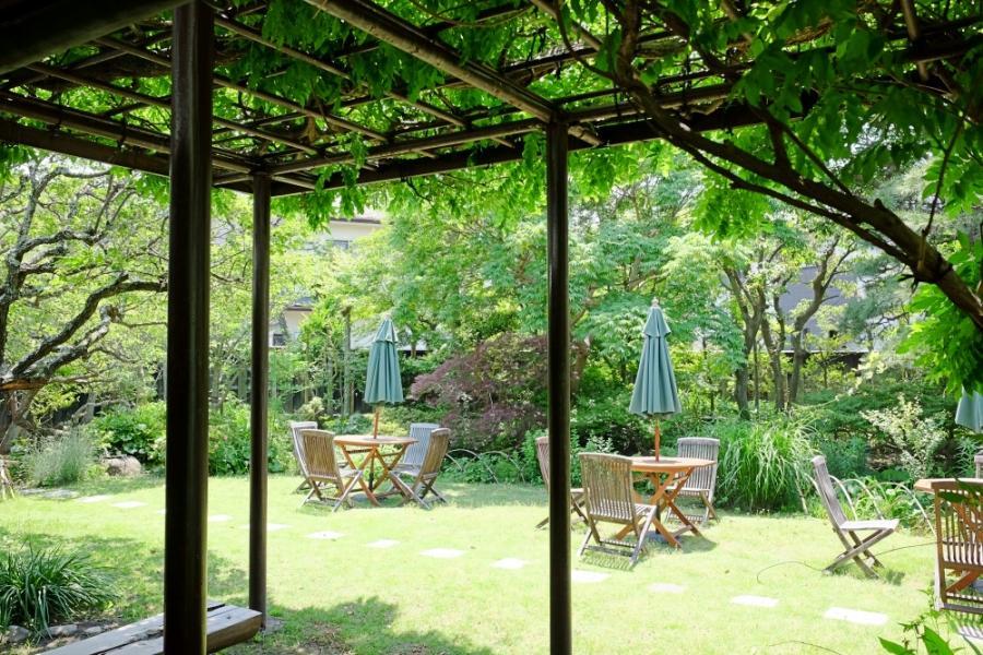西の間から庭へ降りると、藤棚で涼が取れるようになっています