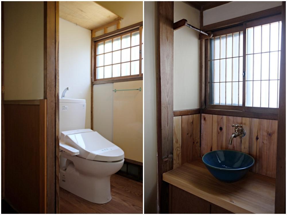(左)トイレ (右)廊下の突きあたりにある手洗器