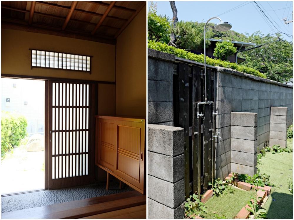 (左)玄関 (右)勝手口を出たところに外シャワー
