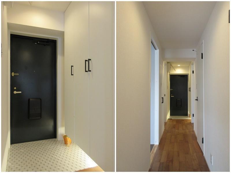 玄関はレトロ可愛い仕上がり|室内の廊下部分