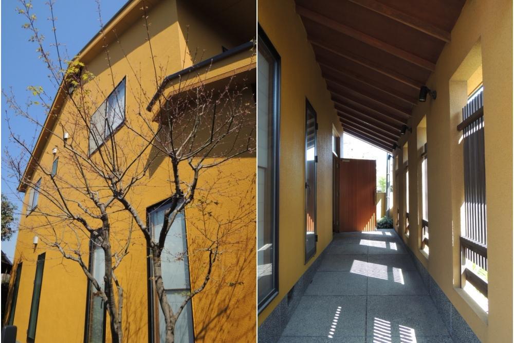 鮮やかなからし色の外観 玄関へのアプローチ