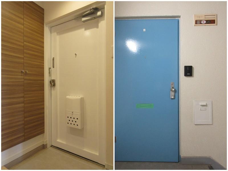 団地っぽい玄関ドア|牛乳ポストのある玄関前