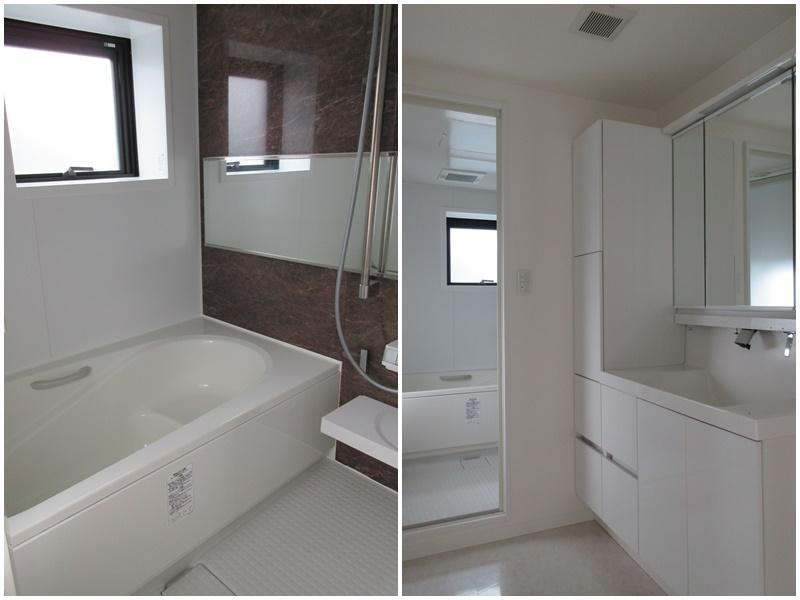 浴室と洗面。水まわりがスッキリしている