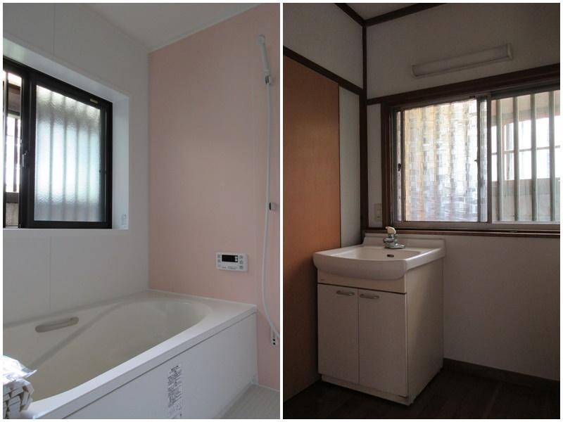 新設の浴室|洗面台はそのままで。でも、嫌な古さはないです