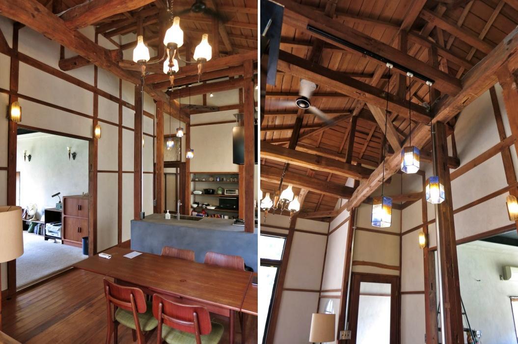 食堂|全景と天井を見上げると立派な梁