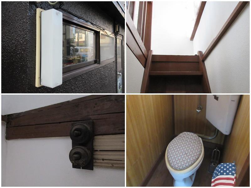 細かなパーツが愛らしい。そして、お約束の急な階段。トイレは2階にあります