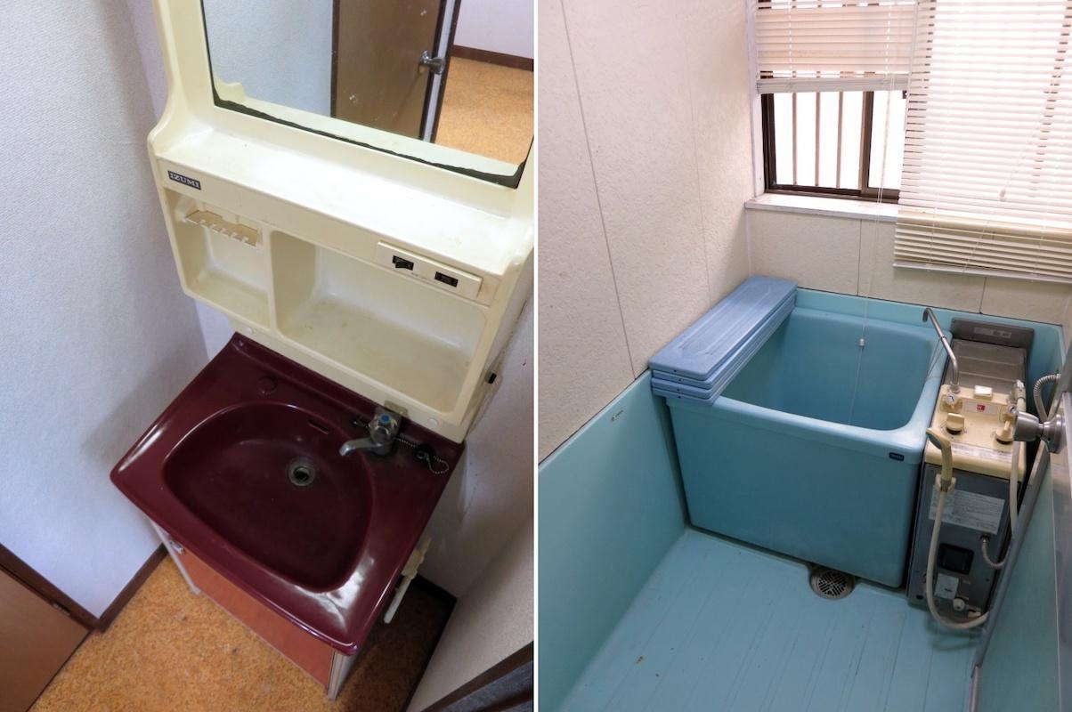 205|渋い色味の洗面台|バランス釜の風呂みなさん知ってますか?