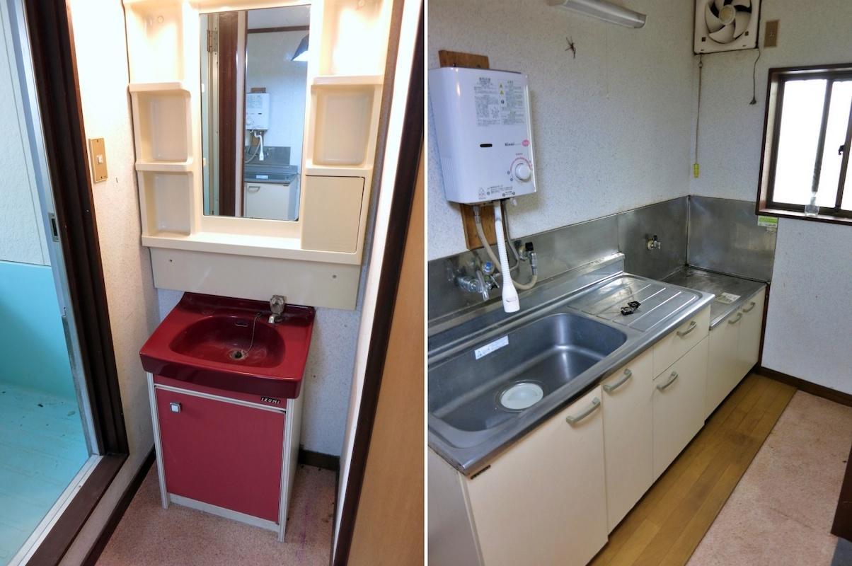 201|キッチンはコンパクトなセット|洗面台はやはり渋色レトロ