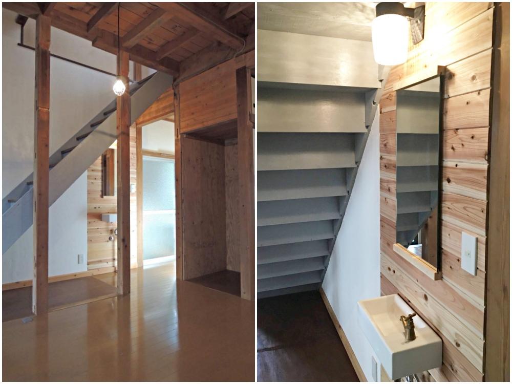 1階|玄関を開けると天高が気持ち良いLDK|階段の下に手洗い場