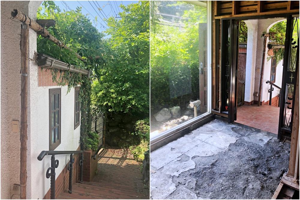 左)通りから玄関までのエントリーウェイ。左は倉庫です。右)玄関とピクチャーウィンドウ