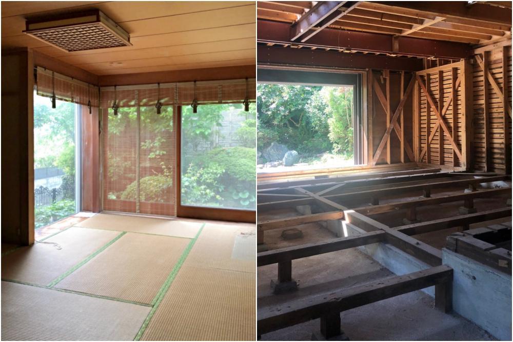 左)和室は復元可能なように解体しています。 右)解体直後の様子